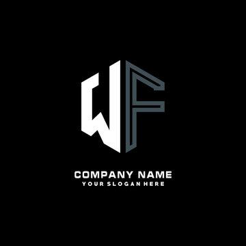 Initial letter WF minimalist line art hexagon shape logo. color  blue,white,black background
