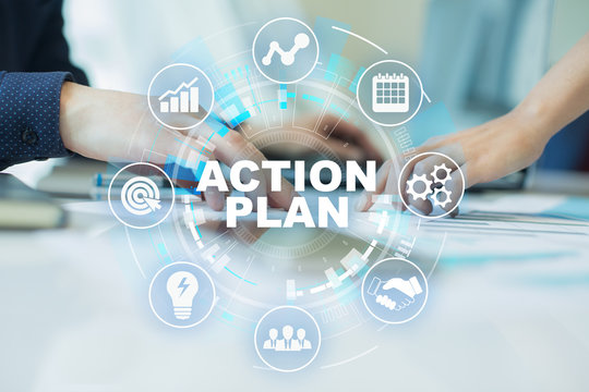 Action plan, business strategy, time management concept on virtual screen.
