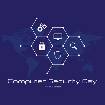 Computer Security Day letter emblem with hexagon graphic