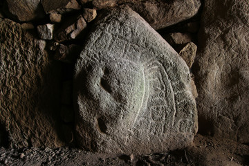 Shapes carved on a stone in one of the dolmens Mane Kerioned