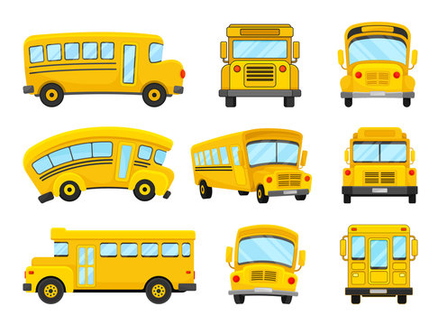The Set Of Vector Illustrations Of Nine Bright Yellow School Buses