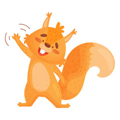 Vector Illustration Of Friendly Little Squirrel Waving Isolated On White Background.