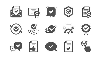 Approve icons. Checklist, Certificate and Award medal. Thumbs up certified document classic icon set. Quality set. Vector