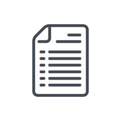 Document with list line icon. Plan file vector outline sign.