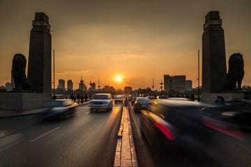 Sunset at the 6th October Bridge, Cairo, Egypt Papier Peint