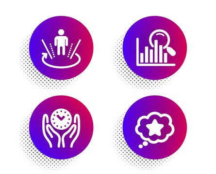 Augmented reality, Search and Safe time icons simple set. Halftone dots button. Loyalty star sign. Virtual reality, Analytics, Management. Bonus reward. Business set. Vector
