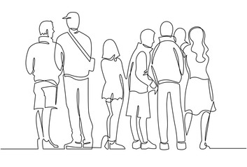 Contour line drawing group of people waiting in queue. Crowd standing at concert, meeting back view