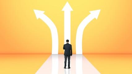 Fototapeta Businessman choice on crossroads making tough decision, options path to choose obraz
