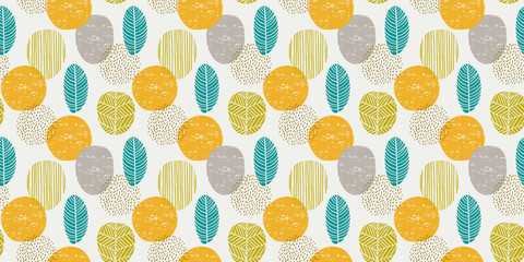 Abstract autumn seamless pattern with leaves. Vector background for various surface.