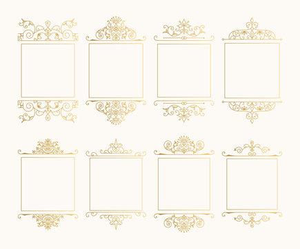 Set of golden vintage flourish frames for menu, label, branding design. Vector isolated illustration.