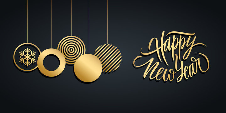 New Year luxury holiday banner with gold handwritten phrase Happy New Year and gold colored christmas balls on black background. Vector illustration.