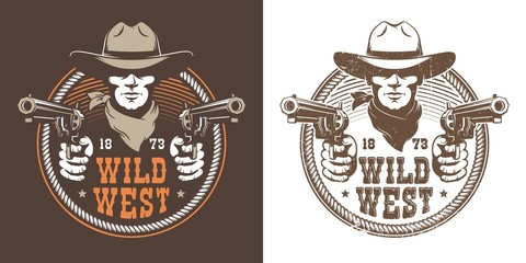Cowboy with guns - wild west vintage logo. Bandit cowboy with pistol in a hat - retro emblem. Vector illustration.