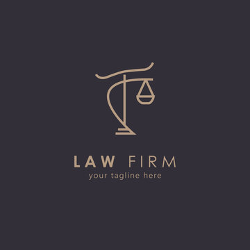 Law firm logo with modern concept. Lawyer service logo design. Vector illustration