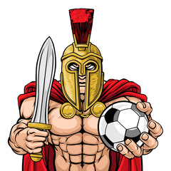 A Spartan or Trojan warrior Soccer Football sports mascot holding a ball