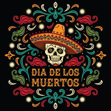 Dia de los Muertos. Mexican sugar skull with letters and ornament