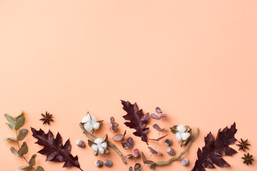 Creative autumn fall thanksgiving day composition with decorative leaves