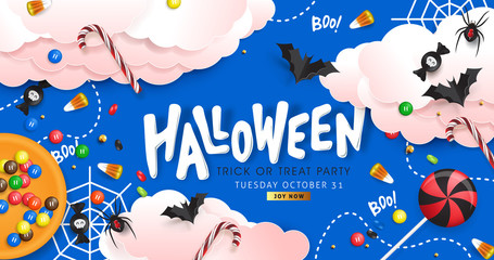 "Halloween Decorative Border made of Festive Elements Background and ""Halloween"" text Calligraphic Lettering Vector illustration."