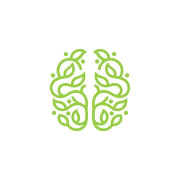 Leaf brain Line Art simple logo minimalist