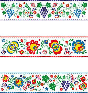 Vector slovak (slovacko) folk ornaments in strips
