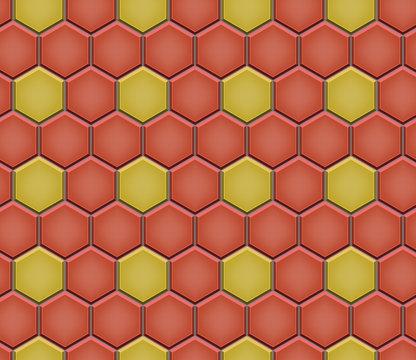 Seamless pattern of hex cobblestone pavement