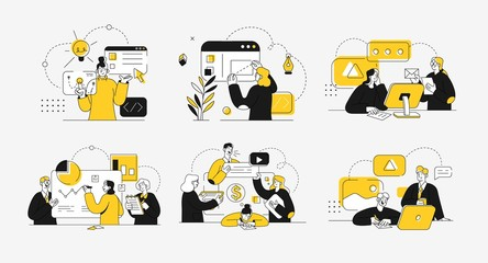 Obraz Business concept illustrations. Collection of scenes at office with men and women taking part in business activity. Outline vector illustration. - fototapety do salonu