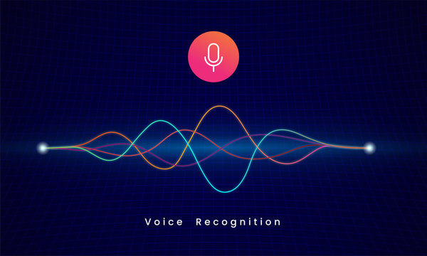 Voice Recognition AI personal assistant modern technology visual concept vector illustration. microphone icon button with colorful sound wave audio spectrum line on dark grid background
