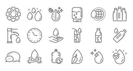 Water drop line icons. Bottle, Antibacterial filter and Tap water. Clean water linear icon set. Quality line set. Vector