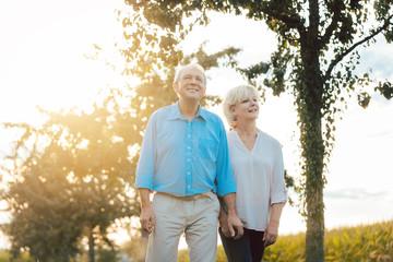 Obraz Senior woman and man having a walk along path in the countryside - fototapety do salonu