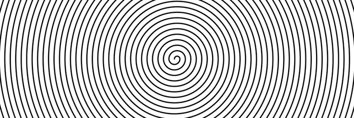 Foto op Canvas Spiraal Black spiral on white banner 01