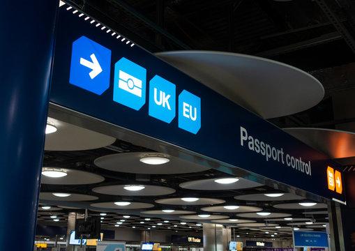 Passport Control and UK Border at Heathrow Airport London England