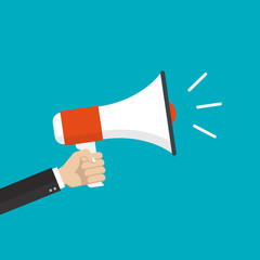 Hand is holding a megaphone or loud speaker. Loudspeaker banner. Design concept for business, social media, broadcasting, marketing. Vector illustration.