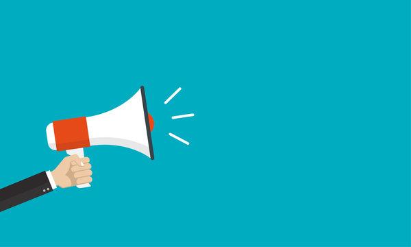 Hand is holding a megaphone or loud speaker. Loudspeaker banner with space for text. Design concept for business, social media, broadcasting, marketing. Vector illustration.