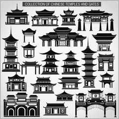 Set of Chinese temples, gates and traditional buildings in black and white