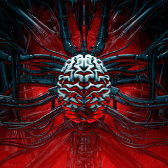 Brain of the gamer / 3D illustration of artificial human brain connected to alien machinery