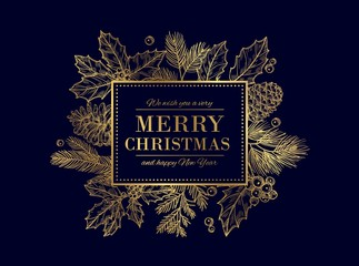 Christmas card. Merry Christmas frame. Festive vector background with gold sketch fir tree branches, cones, berries. Christmas and xmas, merry xmas and new year illustration