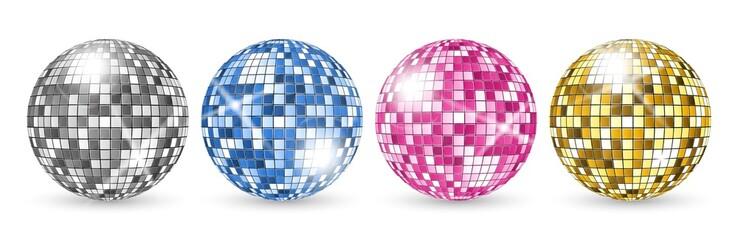 Disco ball. Party mirror balls set. Night club shining decoration vector. Illustration mirror bright disco ball for music club