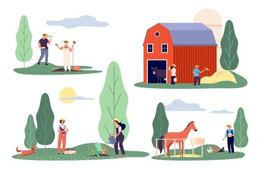 Flat farmers. Harvest time, farm flat vector concepts. Agricultural workers, rural life. Agriculture harvest farming, summer field countryside illustration