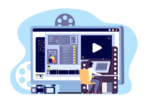 Video editor concept. Multimedia content production and footage editing. Making web page shoot, studio filmmaking vector design. Illustration production film, video content, making and shooting