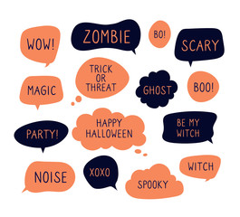 Halloween speech bubbles. Trick or threat, happy halloween, ghost and boo text in comic thinking bubbles. Vector set of halloween bubble message, sticker dialog with text illustration