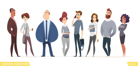 Collection of charming young entrepreneurs or businessmen and managers. Business people standing togever. Modern cartoon style