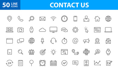 Set of 50 Contact Us web icons in line style. Web and mobile icon. Chat, support, message, phone. Vector illustration.
