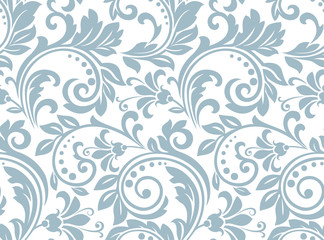 Flower pattern. Seamless white and blue ornament. Graphic vector background. Ornament for fabric, wallpaper, packaging Fototapete