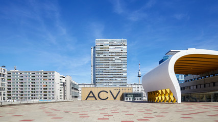 Vienna, Austria - August 14, 2016: Picture of Austria Center Vienna (ACV), conference and exhibition center on a beautiful summer day.
