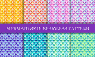 Iridescent mermaid skin semless pattern