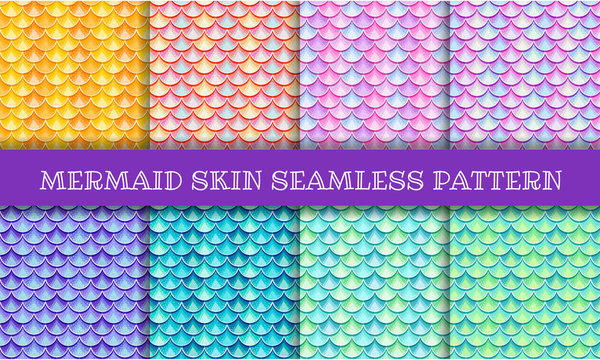 Iridescent mermaid skin semless pattern
