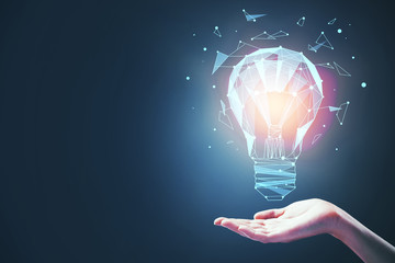 idea concept with bulb in hand