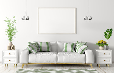 Interior of living room with white sofa, two chests and empty mock up poster 3d rendering