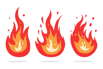 Fire flame vector cartoon icons set isolated on a white background.