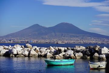 Fototapeten Neapel Boat in front of Vesuv