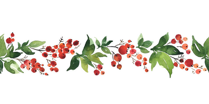 Christmas watercolor horizontal seamless pattern with holly berries